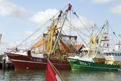 Small fishing boats in the Dutch port Stock Photography