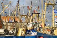 Small fishing boats in the Dutch port Royalty Free Stock Images