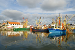 Small fishing boats in the Dutch port Royalty Free Stock Image