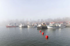 Small fishing boats in the harbor a foggy morning Royalty Free Stock Photo