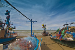 Small fishing boats in Hua Hin  Thailand Stock Photo