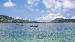 Small fishing boats near the island of Phuket sea Stock Photography