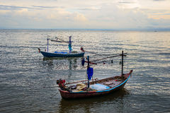 Small fishing boats in the sea Hua Hin , Thailand Stock Images