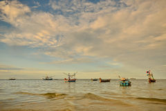 Small fishing boats in the sea Royalty Free Stock Photography
