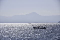 Small fishing boats in the sea at Thailand stock photography