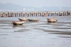 Small fishing boats on the Seashore. Royalty Free Stock Photo