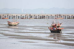 Small fishing boats on the Seashore. Royalty Free Stock Image