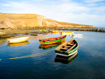 Small fishing boats. Several colorful fishing boats in Cape Verde Stock Photography