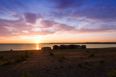 Small fishing cabins on the island Faro, Sweden Stock Photography