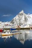 Small fishing harbor on Hamnoy Island during winter time, Lofote Royalty Free Stock Photo