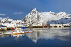 Small fishing harbor on Hamnoy Island during winter time, Lofote Royalty Free Stock Photos