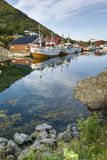 Small fishing harbor on Lofoten Islands Stock Photo
