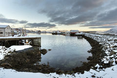 Small fishing harbor on Lofoten Islands in winter time Stock Photos