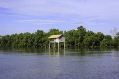 The small fishing house in the sea. At the fish farm in Thailand stock photos