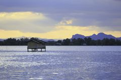 The small fishing house in the sea. At the fish farm in Thailand royalty free stock photography