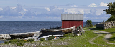 Small fishing huts.GN. Small fishing cottages next to the ocean during summer on the island Gotland in Sweden.GN stock photography
