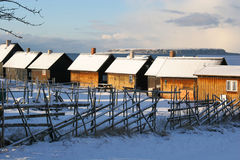 Small fishing huts.JH. Small fishing cottages next to the ocean during winter on the island gotland in sweden.JH royalty free stock images