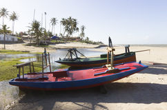 Small fishing men village and craft fishing boats Royalty Free Stock Photos
