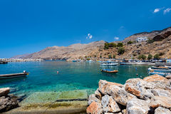 Small fishing port at Chora Sfakion town on Crete island, Greece Royalty Free Stock Images