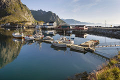 Small fishing port in the Hamnoy, Lofoten Islands, Norway Stock Photo