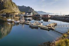 Small fishing port in the Hamnoy, Lofoten Islands, Norway Stock Photo