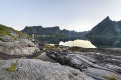 A small fishing port in the Hamnoy, Lofoten Islands Royalty Free Stock Photos
