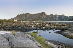 A small fishing port in the Hamnoy, Lofoten Islands, royalty free stock image