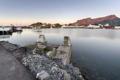 A small fishing port in the Hamnoy, Lofoten Islands stock images