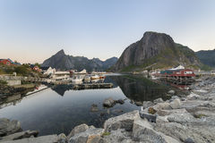 A small fishing port in the Hamnoy, Lofoten Islands Royalty Free Stock Photo