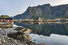 A small fishing port in the Hamnoy, Norway royalty free stock image