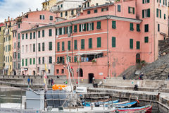 Small fishing port with parked boats at Vernazza town in Cinque Terre national park, Liguria, Italy Royalty Free Stock Photos