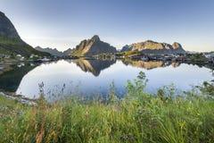 Small fishing port Reine, Lofoten Islands, Norway stock photos