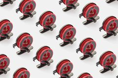 Fishing reel red for fishing rods. Pattern for your design stock images
