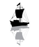 Small fishing ship silhouette. Over white background Stock Photo