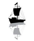 Small fishing ship silhouette Stock Photo