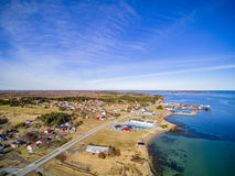 Small fishing town, Norwegian island, scenic aerial view Royalty Free Stock Photography