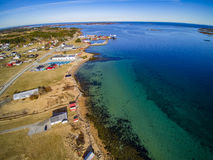 Small fishing town, Norwegian island, scenic aerial view Stock Photography