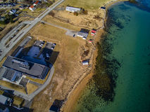 Small fishing town, Norwegian island, scenic aerial view stock photos