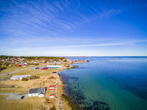 Small fishing town, Norwegian island, scenic aerial view Royalty Free Stock Image