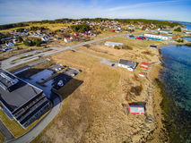 Small fishing town, Norwegian island, scenic aerial view Stock Images