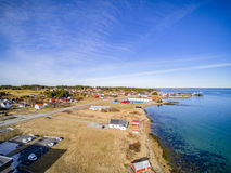 Small fishing town, Norwegian island, scenic aerial view Stock Photo