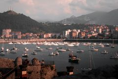 Castro Urdiales, Cantabria. Spain small fishing town and port. Sailing, fishing boats and motor yachts royalty free stock photo