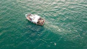 Trawler. A small fishing trawler off the coast of Ayrshire, Scotland stock photo