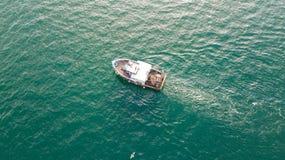 Trawler. A small fishing trawler off the coast of Ayrshire, Scotland royalty free stock photos