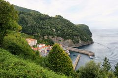 Small fishing village of elantxobe at basque country stock photography