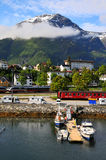 Small fishing village, fjord, Norway Stock Image