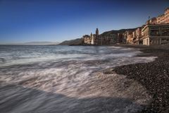 Camogli, famous beach with the church in the background stock photos