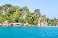 A small fishing village on the Langka Jew Island It is located in the Gulf of Thai. Chumphon Province, Thailand Royalty Free Stock Photos