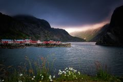 Small fishing village Nusfjord in Lofoten Island royalty free stock photography