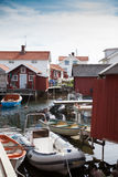 Small fishing village in Sweden. Small idyllic fishing village on one of the many islands in the swedish archipelago Stock Photos